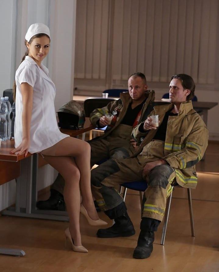 Tina Kay - Tina Kays Gang Bang With 3 Firefighters